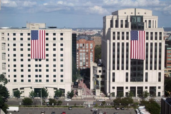 Flags on the Arlington County courthouse and detention facility buildings (photo courtesy Bill Ross)
