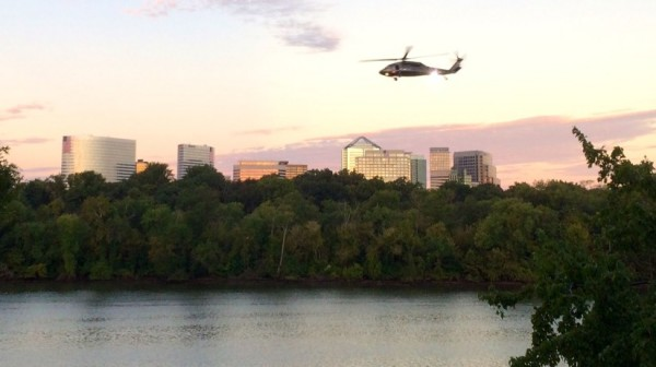 Helicopter over the Potomac and Rosslyn (photo courtesy Peter Roof / Alt Gobo MediaWorks LLC)
