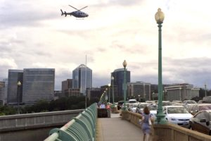 Helicopter over the Key Bridge