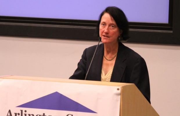 Audrey Clement at Civic Federation candidate forum in 2014
