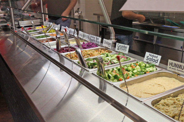 The toppings bar at Amsterdam Falafelshop in Clarendon
