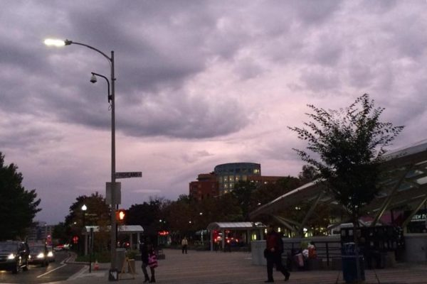 Eerie sky over the Clarendon Metro station (Photo courtesy @ClarendonScene)
