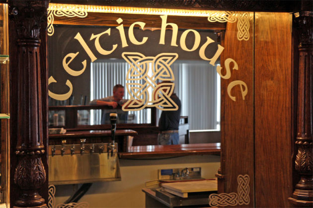 The logo behind the bar of The Celtic House, an Irish pub coming to Columbia Pike