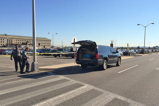 Much of the Pentagon south parking lot is cordoned off on 10/17/14