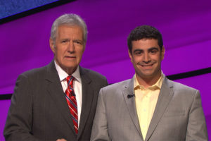 Arlington resident Matthew LaMagna with Alex Trebek (photo courtesy Jeopardy Productions, Inc.)