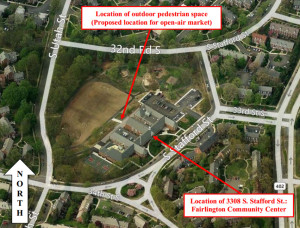 Fairlington farmers market location (photo via Arlington County)