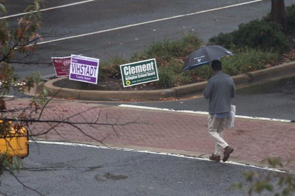 Rainy walk near campaign signs in October