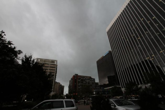 Dark clouds over Rosslyn on 10/15/14