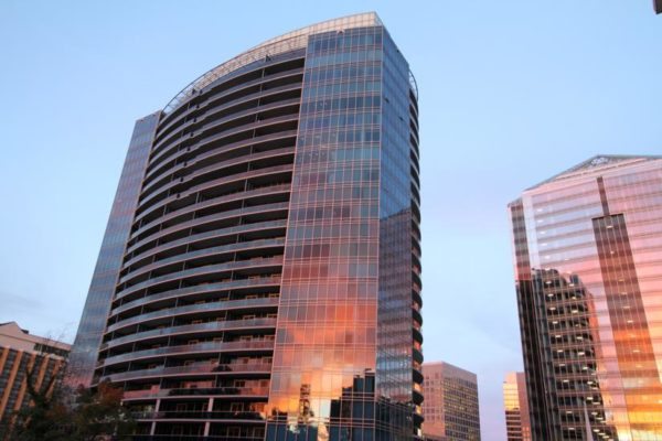 Two Rosslyn buildings reflect Friday night's fiery sunset