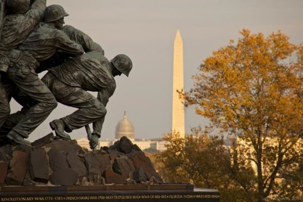 USMC War Memorial with the Capitol and the Washington Monument in the background (Flickr pool photo by Ian Livingston)