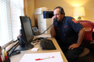 Capt. II Curtis Stilwell, in his office on his last day of work at Station 7 in Shirlington
