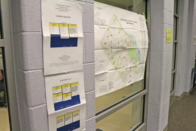 Precinct map and sample ballots at Washington-Lee High School