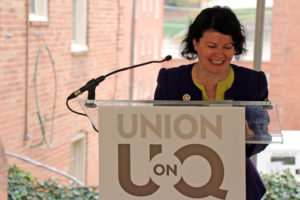 State Sen. Barbara Favola speaks to the crowd at the groundbreaking for the Union at Queen apartments