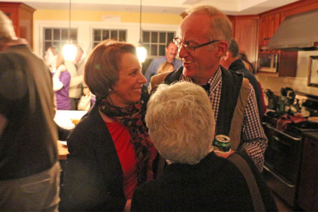 John Vihstadt and Libby Garvey, the two anti-streetcar Board members, embrace as Vihstadt wins re-election