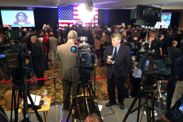 The party at the DoubleTree hotel in Crystal City for Democrats Don Beyer and Mark Warner