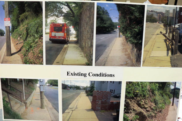 The existing sidewalk conditions of Wilson Blvd in Bluemont