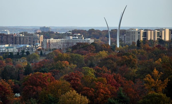 Air Force Memorial and Pentagon City in the fall (Flickr pool photo by Starbuck77)