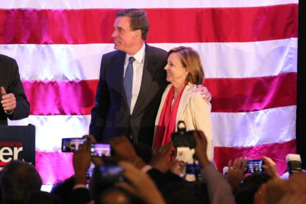 Sen. Mark Warner and his wife in Crystal City