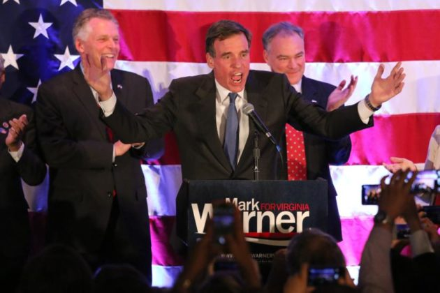 Sen. Mark Warner declares victory in Crystal City