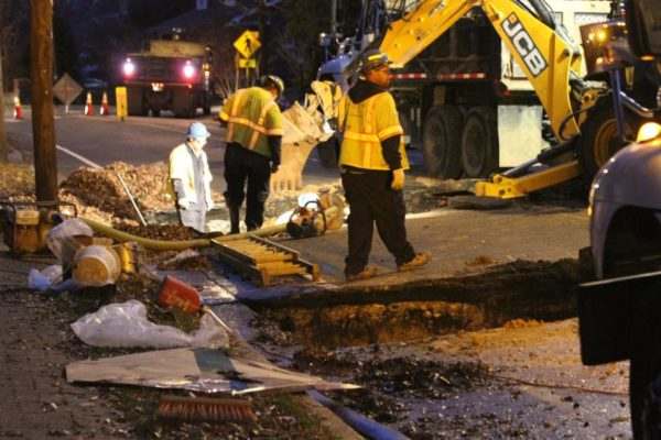 Water main break on Arlington Ridge Road