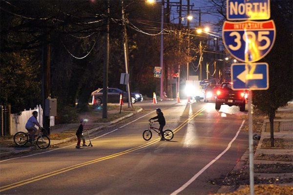 Kids playing on Arlington Ridge Road during a road closure on 11/25/14
