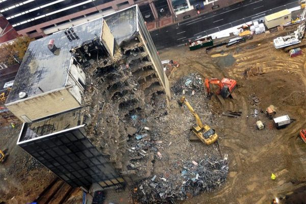 Rosslyn office building being torn down (Flickr pool photo by Mrs. Gemstone)