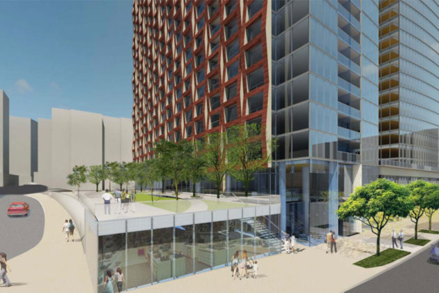 Vornado's rendering of the pocket park next to the 223 23rd Street S. residential tower