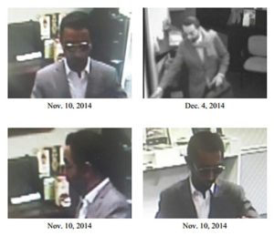 Surveillance images of Ballston bank robber (photos via FBI )