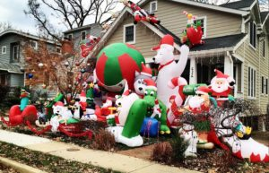 Inflatable Christmas decorations at a home in the Aurora Highlands neighborhood