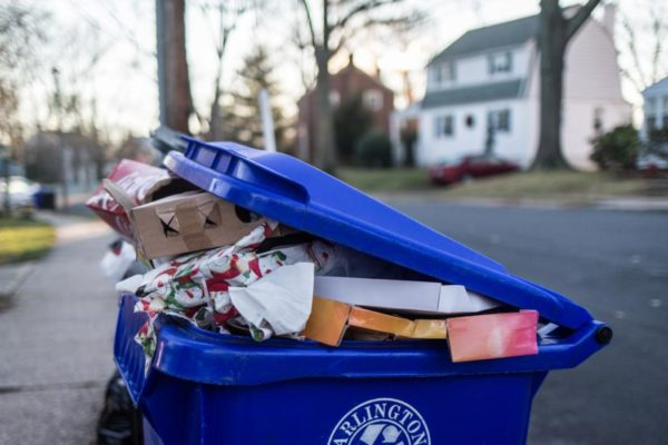 Post-Christmas recycling bin (Flickr pool photo by Dennis Dimick)