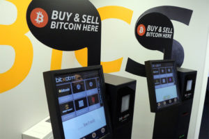 A bitcoin ATM at the BTCS office