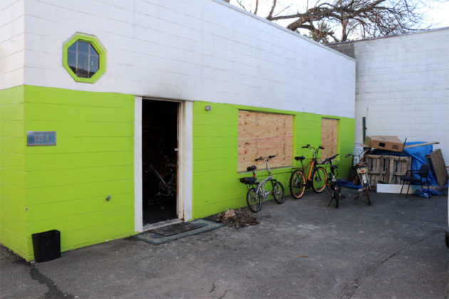 The bicycle storage building damaged by the fire on N. Jackson Street Sunday, Jan. 4, 2015