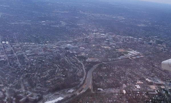 Ballston and I-66, as seen from a commercial flight