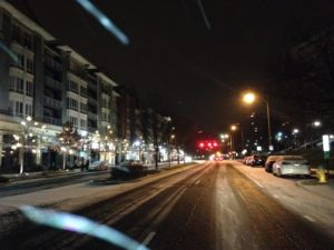 Snow on the roads in Pentagon City