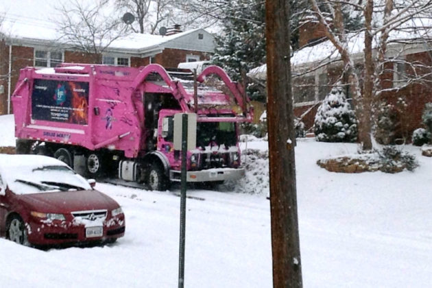 Garbage truck slides onto the sidewalk on N. Woodrow Street (photo courtesy John Slanta)