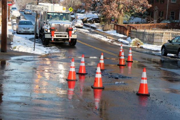 Water main break at N. Pershing Drive and N. Oakland Street on Jan. 6, 2015