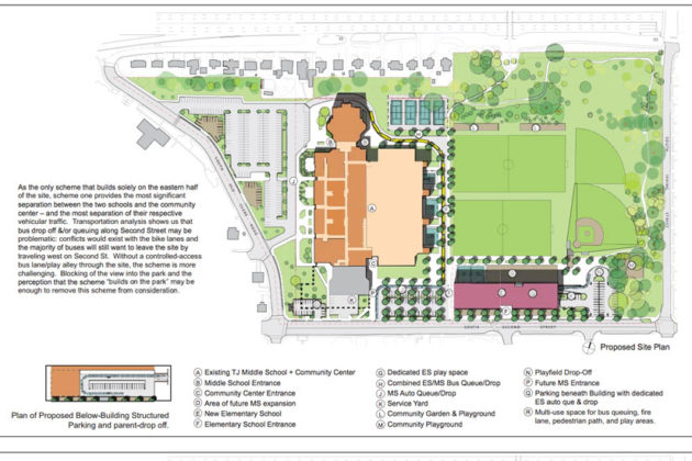 Scheme One of the proposed Thomas Jefferson elementary school site