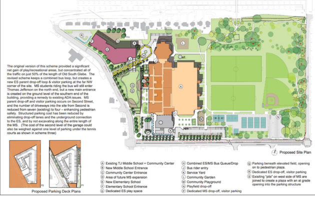 Scheme Two of the proposed Thomas Jefferson elementary school site