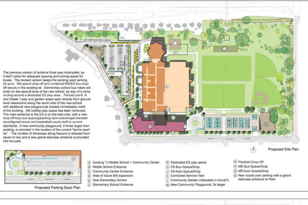 Scheme Three of the proposed Thomas Jefferson elementary school site