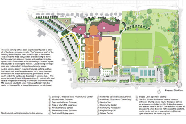 Scheme Four of the proposed Thomas Jefferson elementary school site