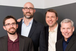 From left, ThreatConnect cofounders Adam Pendergast, Richard Barger, Adam Vincent and Leigh Reichel