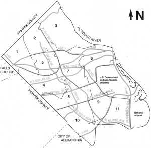 "Arlington's residential assessment map, divided by ""trend area"""