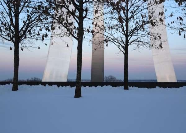 Snowy sunset at the Air Force Memorial (photo courtesy @TheBeltWalk)