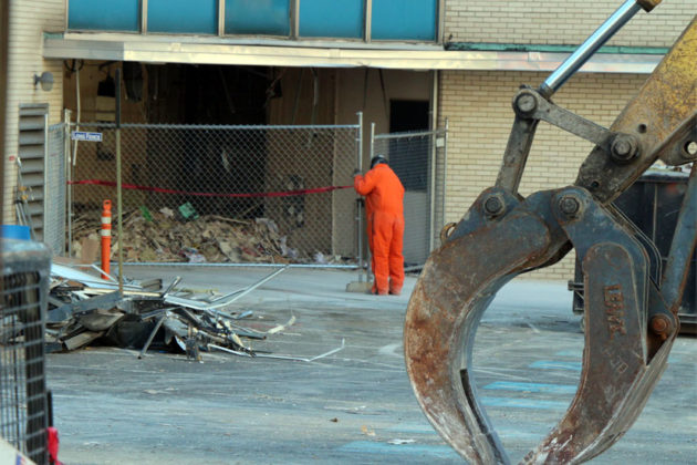 """The lobby of the """"Blue Goose"""" building appears to have already been torn apart"""