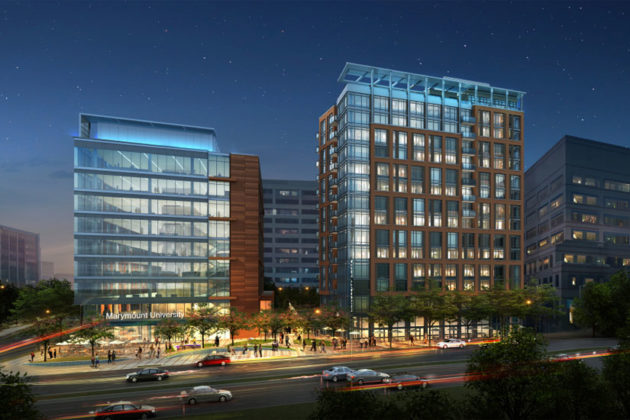 A rendering of the future mixed-use development on the site of Marymount University's Blue Goose (image via The Shooshan Company)