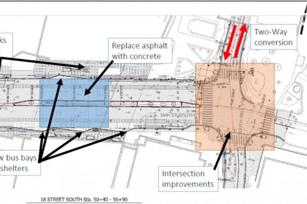 Plans for the street and transit improvements at the Crystal City Metro station (image via Arlington County)