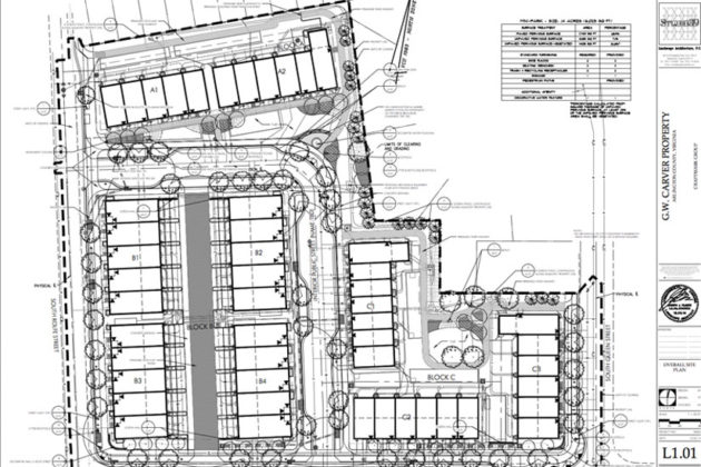 Layout of the planned townhouses at the site of the Carver Homes (image via Arlington County)