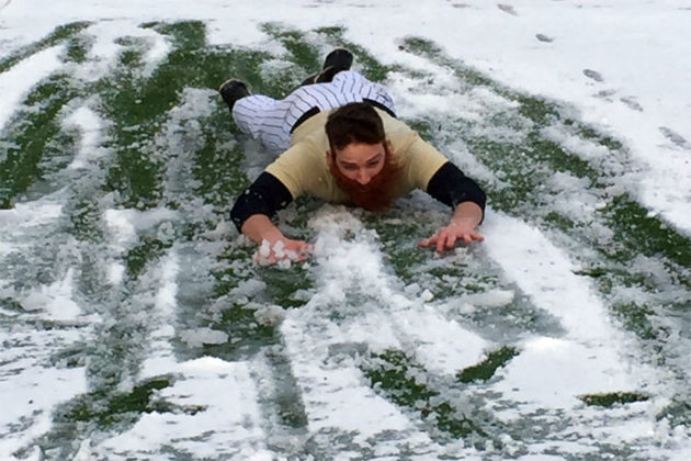 GWU baseball players practice in the snow (photo courtesy George Washington Athletics Communications)