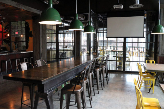 Communal tables in the main room at Highline RXR in Crystal City