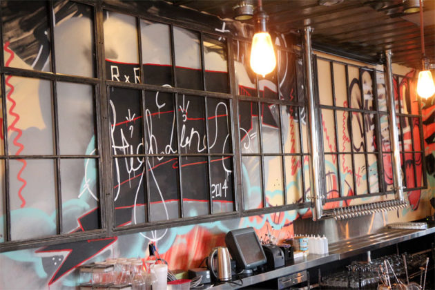 The artwork behind the front bar at Highline RXR in Crystal City